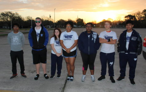 Starting on the far left, Senior James Celestin, Junior David Sargent, Junior Makaila Simmons, Senior Rita Jenkins, Freshman Ashley Frazier, Freshman Jared Simmons, and Senior Carlos Vilches.